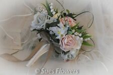 Natural Brides Bouquet in Vintage Peach with Jute/Hession Ribbons