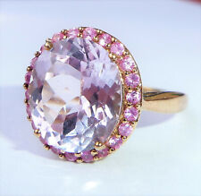 Large 9ct Gold Amethyst & Pink Topaz Halo Ring, Size S