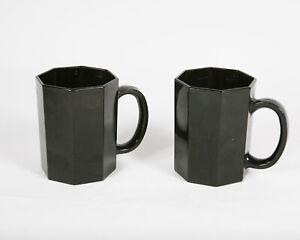 Set Of 2 Arcorac Octine Octagonal France Black Coffee Mugs See Photos & Descrip