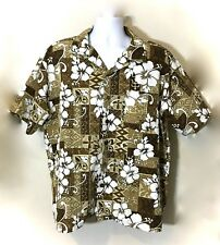 Brown White Plumeria Hawaiian Island TIKI Aloha Beach Casual Camp Shirt XL XXL