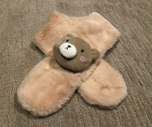 💜 Faux fur BEAR Scarf Tan Brown for Toddler Kids - UNIQUE and CUTE 💜