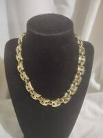"Signed Sperry 1940's Modernist Chain Link Gold-tone Necklace 16"" Hook Clasp"