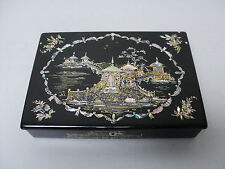 STUNNING BLACK LACQUER CHINOISIERE DECORATED PAPIER MACHE WRITING BOX, c.1860