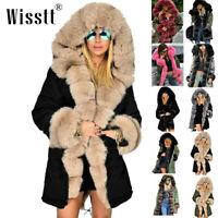 Roiii Women Warm Long Coat Fur Collar Hood Jacket Slim Winter Parka Outwear Coat