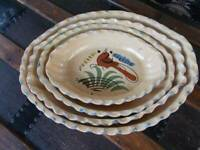 vintage MEXICAN POTTERY NESTING SERVING BOWLS oval set 4 hand painted birds