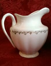 Vintage KT & H Co Semi-Vitreous Porcelain Pitcher Carafe White Gold 406 Numbered