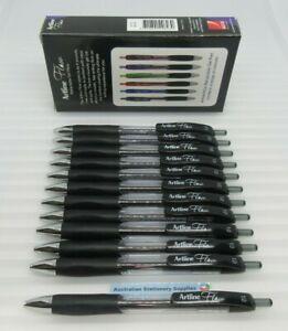 12 x BLACK Artline Flow Gel Pens Retractable with 1.0mm Nib