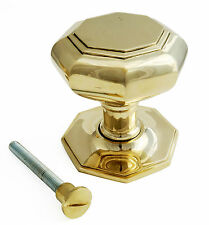 Very Large Solid Brass Octagonal Centre Door Knob Antique Pull Front Handle 11cm