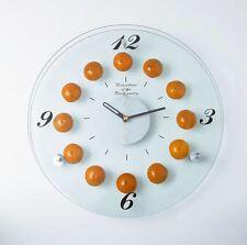 Glass Wall Clock Silent Kitchen Clocks 30x60 cm Flowers Orange