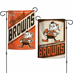 """CLEVELAND BROWNS DOUBLE SIDED RETRO GARDEN FLAG 12""""X18"""" YARD BANNER NFL LICENSED"""