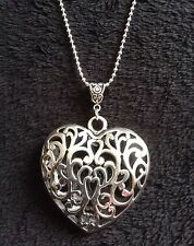 "3D Heart Necklace 30"" Chain Flower Hollow Silver Love Charm Pendant Unusual *UK*"