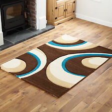 Extra Large Modern Carved 12mm Thick 240 X 340 Cm Brown Teal Blue Rapello Rugs