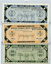 Boston Clearing House Certificate Set (#1006) Set of Five ($1,5,10,20 & 50) New.
