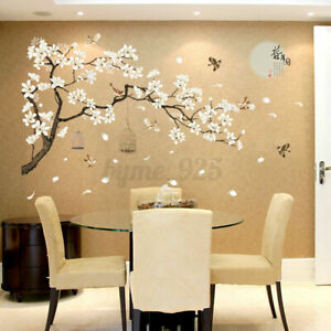 White Blossom Tree Decal Mural For Decor Branch Cherry Blossom Wall Art Stickers