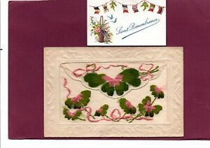 WW1 Embroidered Silk Postcard Green Leaves & Pink Ribbons