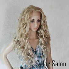 HAND TIED Synthetic Hair LACE FRONT FULL WIGS GLUELESS Mixed Blonde 99#613M27