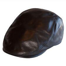 Lederkappe Flatcap Lederhut Hatteras Herren Baskenmütze Mütze Schirmmütze Braun