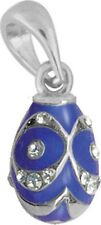 Faberge Egg Pendant / Charm with crystals 1.6 cm blue #0848-11-09