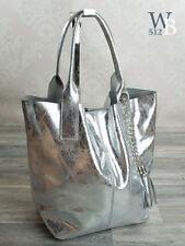 Made in Italy eyecatcher Shopper Beutel Hand Damen Tasche echt Leder Silber 031S