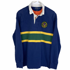 Polo Ralph Lauren Rugby Polo Shirt Medium Navy Blue Yellow Green NE Guide Trails