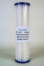 "New Pleated Water Filter Replacement Cartridge - 10"" x  2.5"" - 1   Micron"