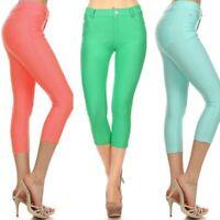 Women's Colorful Jeggings Soft Stretchy Skinny Leggings Pencil Capri Pants