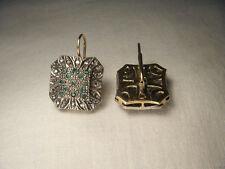Beautiful Antique 14K Pink Gold Rose Cut Diamond Emerald Earrings