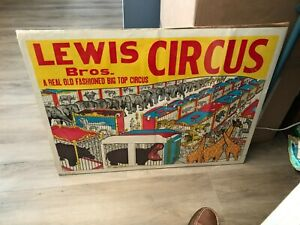 """VINTAGE LEWIS BROS. CIRCUS POSTER 21"""" X 28""""  MENAGERIE SHOWN WITH CIRCUS ANIMALS"""