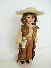 """Vintage Cowgirl Doll~7""""~six-shooter, holster, chaps, vest~hard plastic"""
