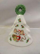 Vintage Lefton Santa Mouse Shopper Bell Tree Shaped Figurine