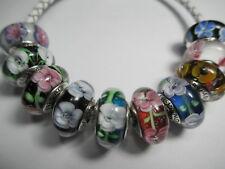 11 Pandora Silver 925 Ale Rose Cherry Dogwood Black White Flowers Beads Charms