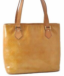 Authentic Louis Vuitton Vernis Houston Shoulder Hand Bag Yellow LV A9396