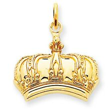 14K Yellow Gold Deatiled CROWN Pendant Charm NEW