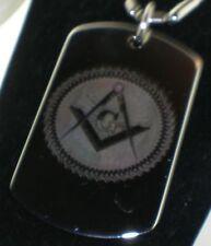 Masonic Mason G ROUND Dog Tag Pendant Necklace