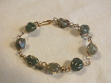 """Beautiful Clasp Bracelet Gold Tone Wire Wrapped Jade Green Beads 7 3/8"""" NICE"""