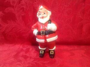 "Vintage Santa 7"" Figure Hard Plastic 2pc Christmas Holiday Fair Candy Holder"