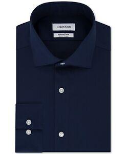 Calvin Klein Navy Men's Slim-Fit Stretch Infinite Color Dress Shirt 16 32/33