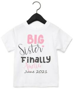 Personalised Name Big Brother Again And Big sister Finally Kids T-shirt