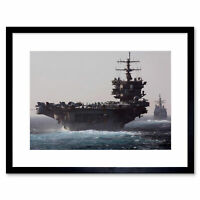 War Navy Battleship Aircraft Carrier Uss Enterprise Jet Framed Print 12x16 Inch