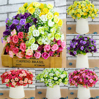 21 Head Artifical Plastic Rose Silk Flower Wedding Bouquet Office Home Decors CH