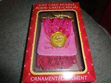 """6.5"""" Pink Velour Fringed/Gold Beads """"Shop Til You Drop"""" Bag Gift Card Holder New"""