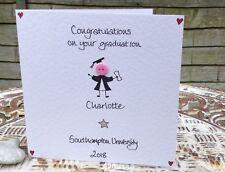 Personalised Handmade button Congratulations Graduation card girl daughter niece