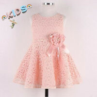 Toddler Girls Kids Full Lace Floral One Piece Dress Child Princess Party Dress
