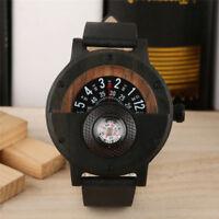 Luxury Men's Quartz Wood Watch Compass Natural Wooden Wristwatch Leather Strap