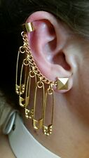 Harley Quinn Safety Pin Earring's (3 Octagon Embellished & 2 Gold) PRIORITY SHIP