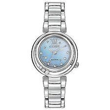 Citizen Em0320-59d Ladies Diamonds 29mm Silver Steel Bracelet & Case Watch