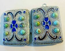 Rare Vintage Chinese Locket Pendant w Genuine Turquoise Enamel Working Condition