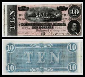 SHIFT ERROR 1864 $10 CONFEDERATE  CURRENCY ~RICHMOND \ EXTRA FINE
