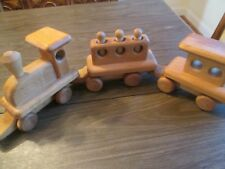 Vintage handcrafted wooden train set by Michaud Toys set of 6 pieces, heirloom