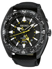 New Seiko SUN057 Prospex Kinetic GMT Stainless Black Leather Strap Men's Watch